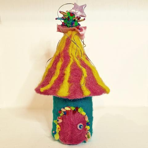 Accessory - Fabric: Felted Whimble Cottage, 6.5 inches high